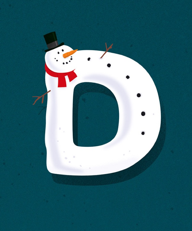 , Un Alphabet Illustré aux Décorations de Noël