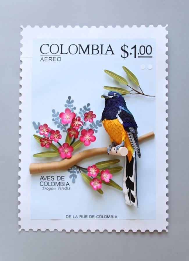 diana beltran herrera oiseaux sculpture papier timbres 2 - Timbres Postaux Geants Sculptés en Papier et en 3D
