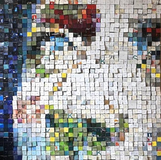 , Elle Recycle des Piles de Magazines Papier en Portraits 3D
