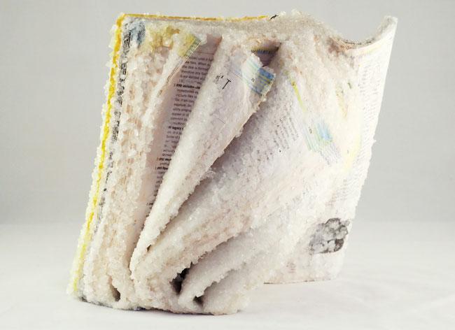 livres sculptures, Sculptures Scintillantes de Livres Cristallisés par le Temps