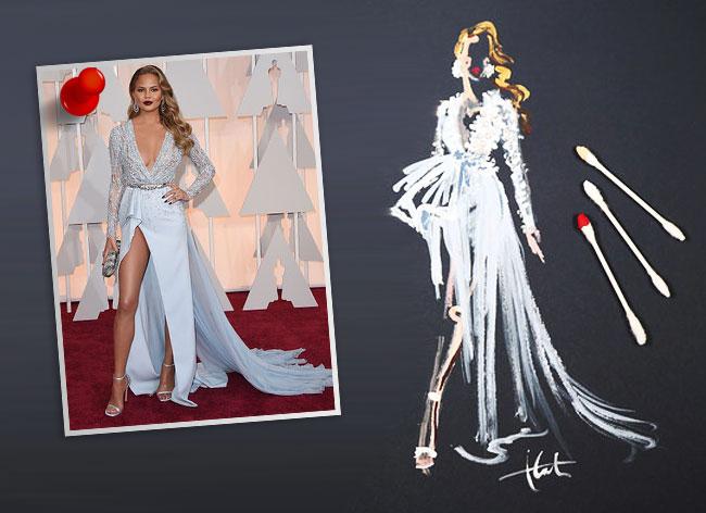 , Les Plus Belles Robes des Oscars 2015 Peintes avec des Cotons Tiges