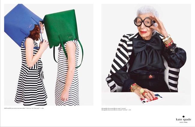 , A 93 ans Iris Apfel s'Affiche chez Kate Spade pour le Printemps Eté 2015