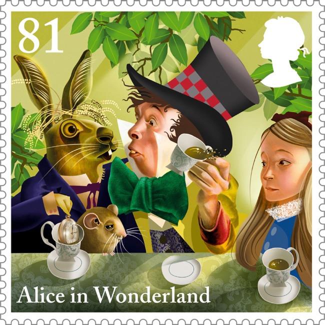 , Alice au Pays des Merveilles sur les Timbres de Royal Mail