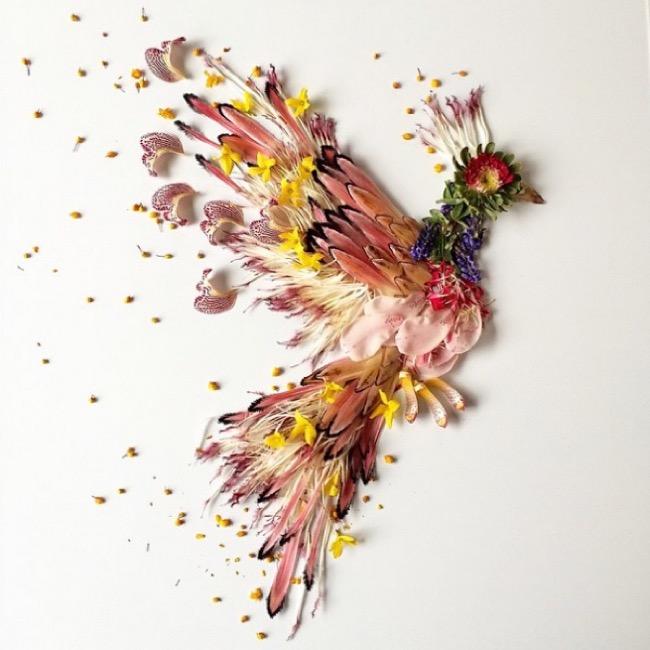composition-nature-fleurs-flora-forager, Compositions Poétiques faites de Pétales, de Fleurs et de Graines
