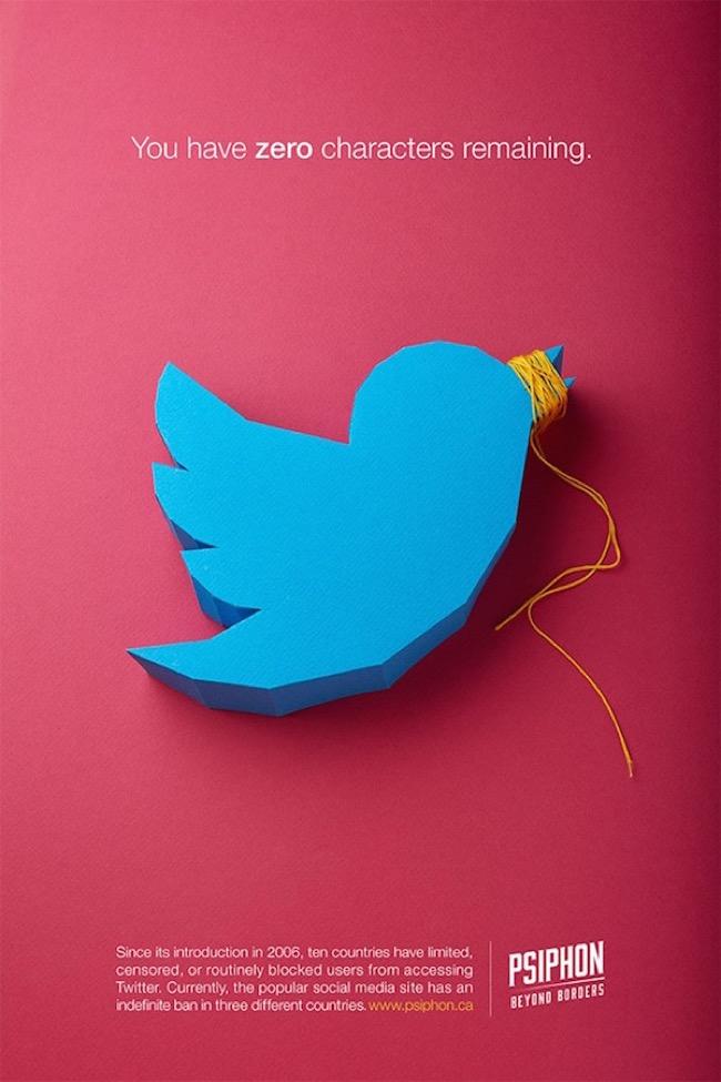 , La Censure d'Internet s'Affiche dans une Campagne Parlante