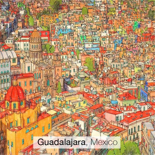 , Les Plus Célèbres Villes Réunies dans un Album a Colorier pour Adultes