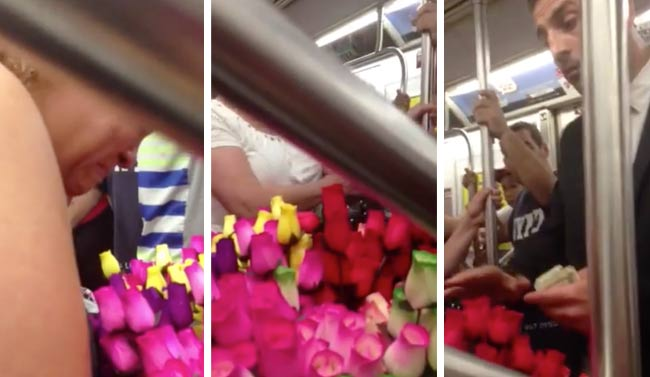 metro new york rose generosite 1 - Il Achète 140 roses dans le Métro New Yorkais et son Geste va vous Laisser sans Voix