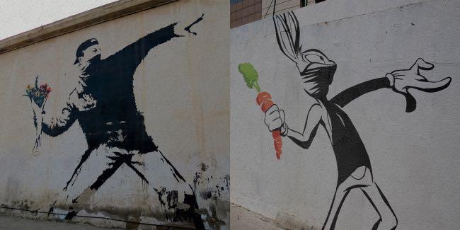 , Les Pochoirs de Banksy Parodiés par Bugs Bunny et Cie