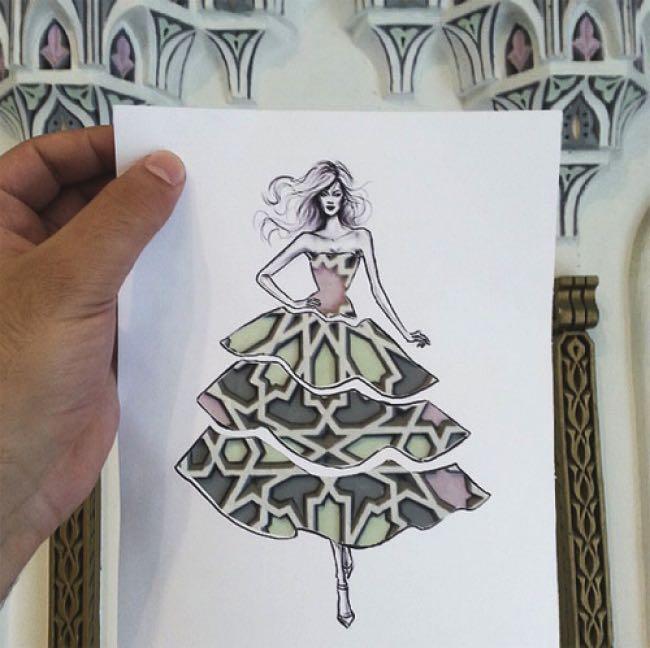 , Illustrations Fashion au Pochoir et en Mode Realitée Augmentée