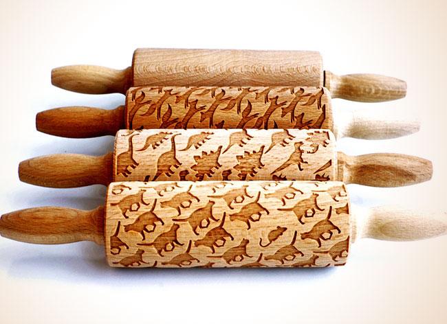 Rouleaux Pâtisserie Gravés Motifs, Enchanteurs Rouleaux à Pâtisserie Gravés aux Motifs Créatifs