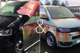 camouflage fourgon autocollants clydewraps 4 331x219 - Il Camoufle en Epave son Fourgon Volkswagen T5 pour Eviter le Vol