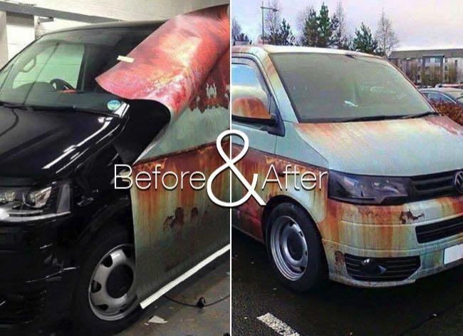 , Il Camoufle en Epave son Fourgon Volkswagen T5 pour Eviter le Vol