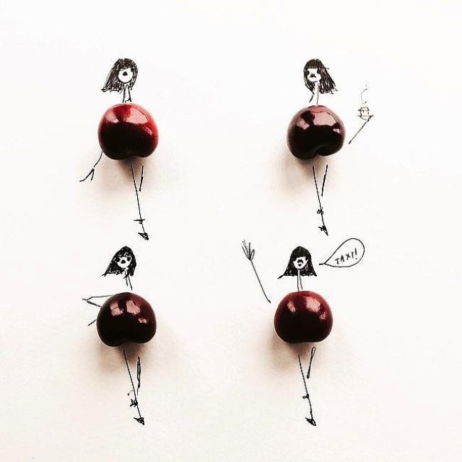 , Rafraichissantes Illustrations de Mode faites de Fruits et Légumes