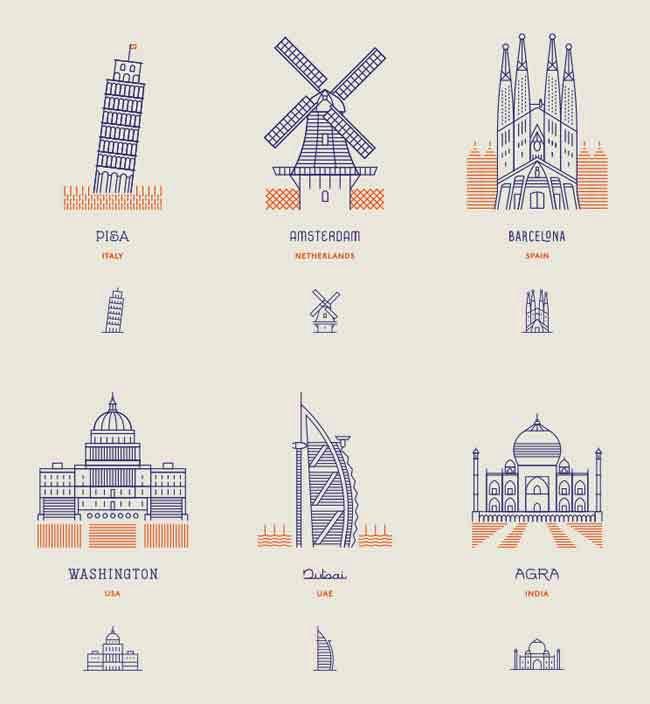 , Vision Minimaliste des plus Célèbres Monuments au Monde