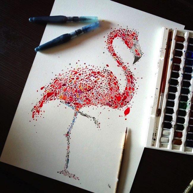 animaux aquarelle, Portraits Pointillistes d'Animaux en Peinture Aquarelle
