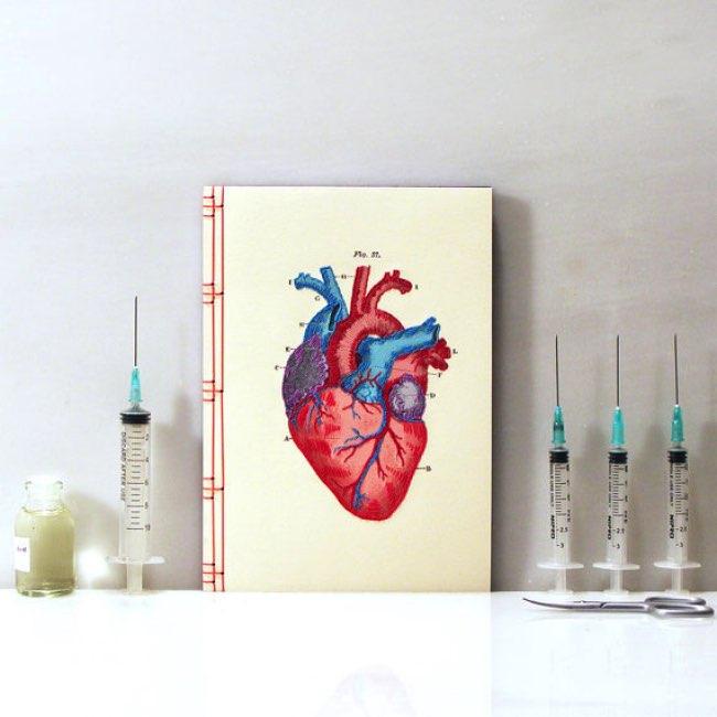, Planches Anatomiques Brodées pour Carnets de Note Creatifs