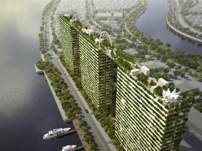 , Une Impressionnante Forêt sur les Toits de 3 Buildings au Vietnam