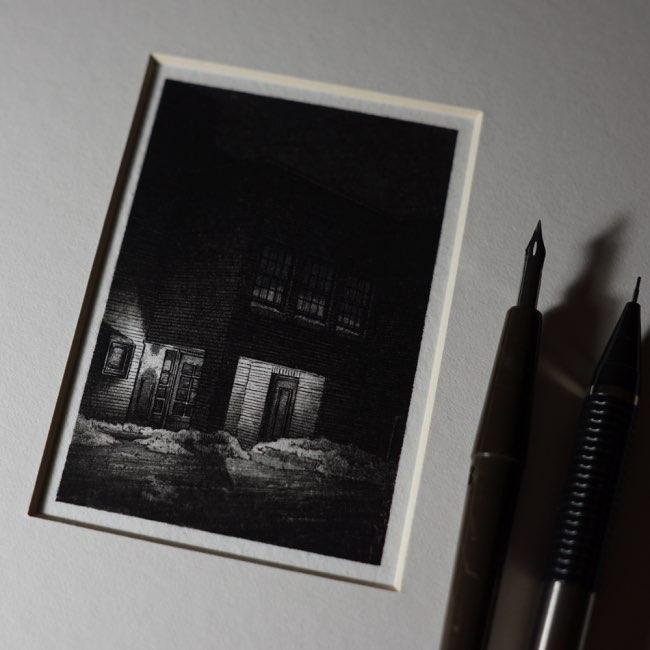 , Fascinantes Petites Illustrations Urbaines à l'Encre Noire