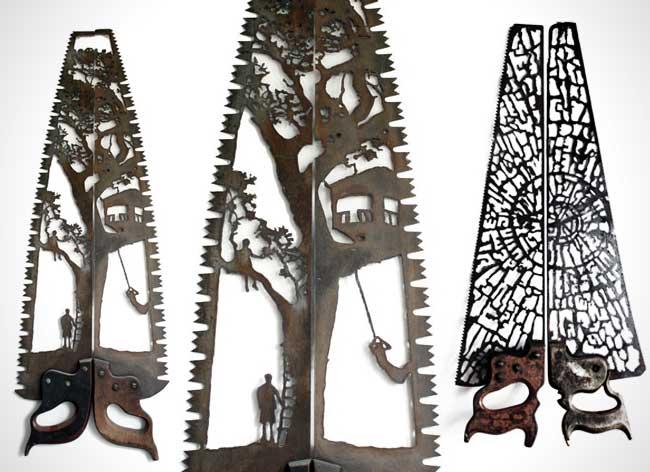 dan rawlings sculpture metal scies outils 3 - Délicates Silhouettes Sculptées sur des Outillages Agricoles