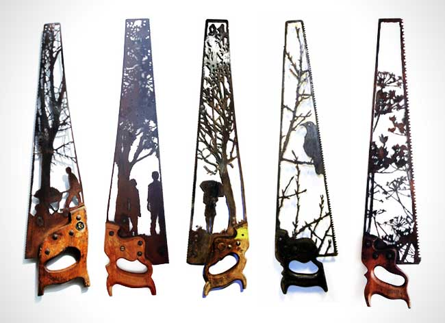 dan rawlings sculpture metal scies outils 4 - Délicates Silhouettes Sculptées sur des Outillages Agricoles