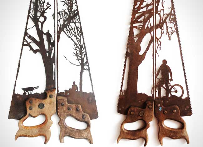 dan rawlings sculpture metal scies outils 5 - Délicates Silhouettes Sculptées sur des Outillages Agricoles
