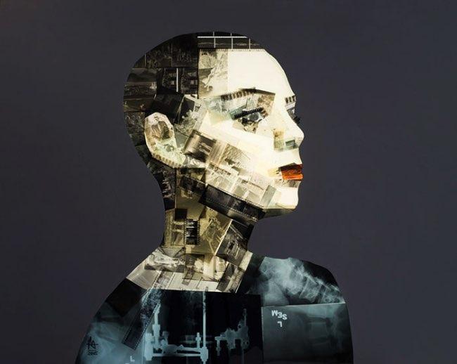 , Portraits Artistiques Faits de Diapos et de Radiographies Recyclées