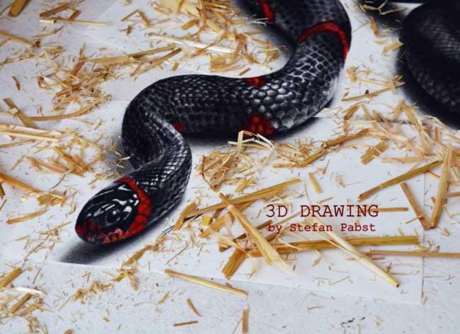 , Il Peint en 3D un Saisissant Serpent à Faire Peur (video)