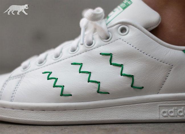 baskets adidas stan smith zig zag broderie 4 - Retour des Baskets Stan Smith avec 3 Bandes Brodées en Zig Zag