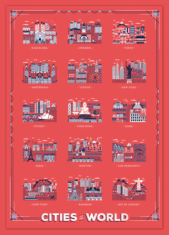 , 15 Capitales du Monde en Poster Illustré pour une Invitation au Voyage