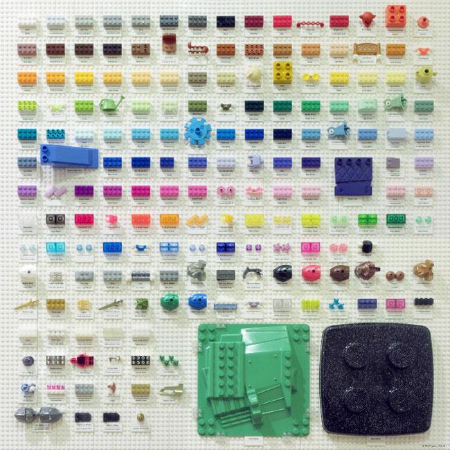 , La Palette de Couleurs des Lego dans ce Nuancier en Lego