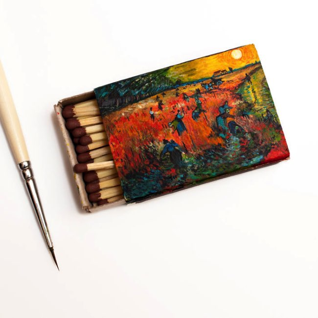 , Reproductions des Tableaux de Van Gogh sur des Boîtes d'Allumettes