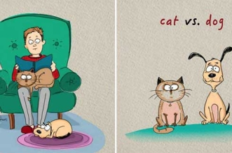 chiens chats differences illustrations 1 331x219 - 6 Amusantes Différences entre Chiens et Chats (Illustrations)