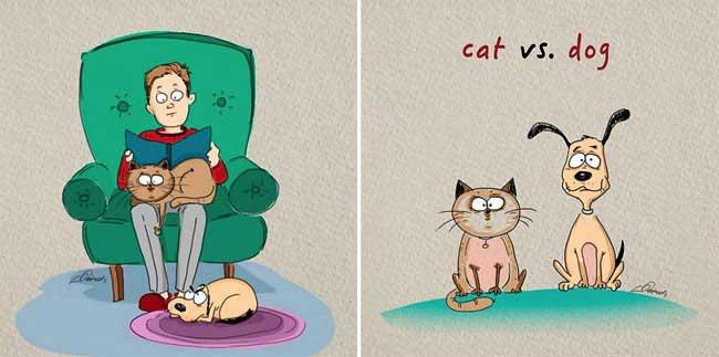 , 6 Amusantes Différences entre Chiens et Chats (Illustrations)