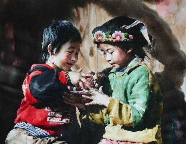 liu-yunsheng-aquarelles-portraits, Ces Visages Radieux de Tibetains en Aquarelle Hyperrealiste