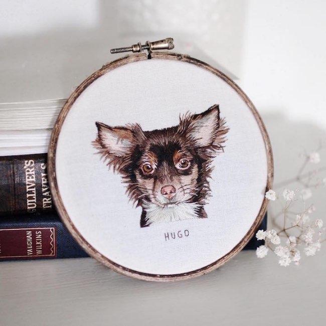 animaux broderie hoop art emillie ferris 1 - Portraits d'Animaux Brodés à la Manière des Impressionnistes