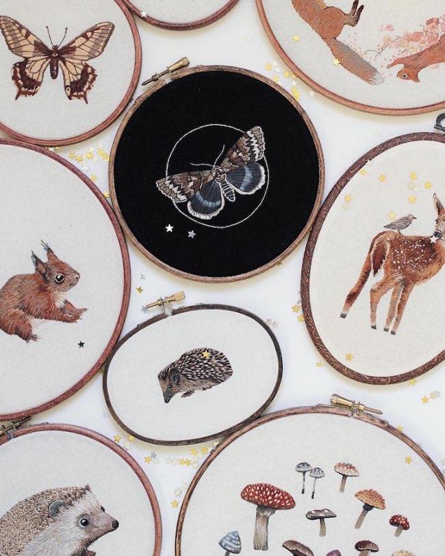 animaux broderie hoop art emillie ferris 11 - Portraits d'Animaux Brodés à la Manière des Impressionnistes