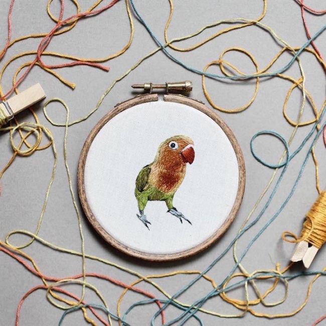 animaux broderie hoop art emillie ferris 2 - Portraits d'Animaux Brodés à la Manière des Impressionnistes