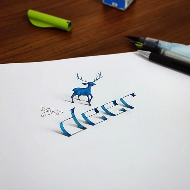 papier calligraphie 3d tolga girgin 3 - Ces Calligraphies en 3D Semblent Jaillir de la Feuille de Papier