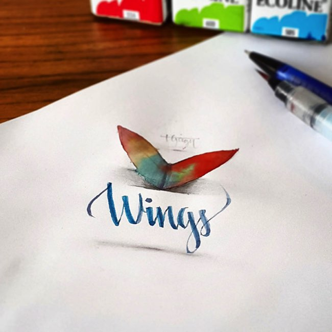 papier calligraphie 3d tolga girgin 4 - Ces Calligraphies en 3D Semblent Jaillir de la Feuille de Papier