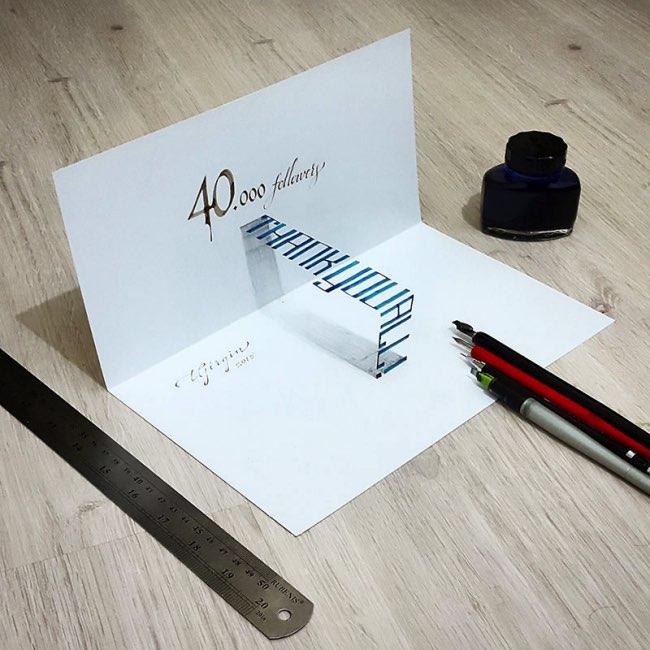 papier calligraphie 3d tolga girgin 6 - Ces Calligraphies en 3D Semblent Jaillir de la Feuille de Papier