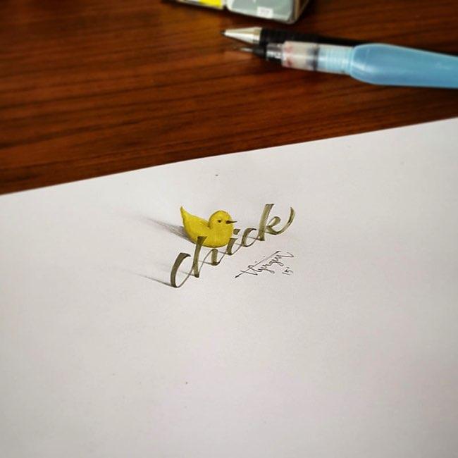 papier calligraphie 3d tolga girgin 7 - Ces Calligraphies en 3D Semblent Jaillir de la Feuille de Papier