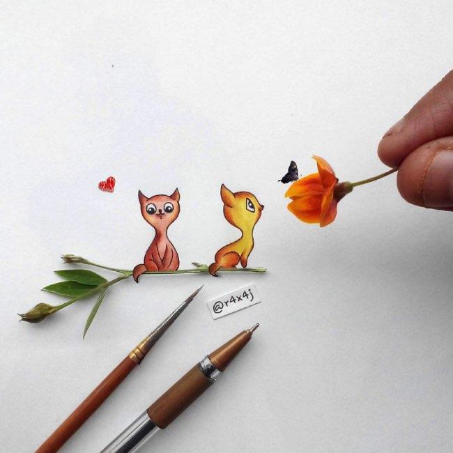 , Amusantes Interactions Creatives entre Réalité et Illustration
