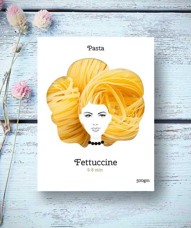 emballage pates italienne nikita design cheveux 2 - Voici les Plus Glamour des Paquets de Pâtes Italiennes