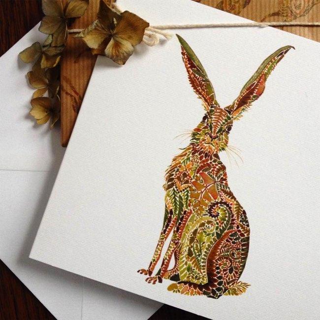 helen ahpornsiri fougeres illustration 7 - Poétiques Illustrations Animalières Faites de Plantes Pressées