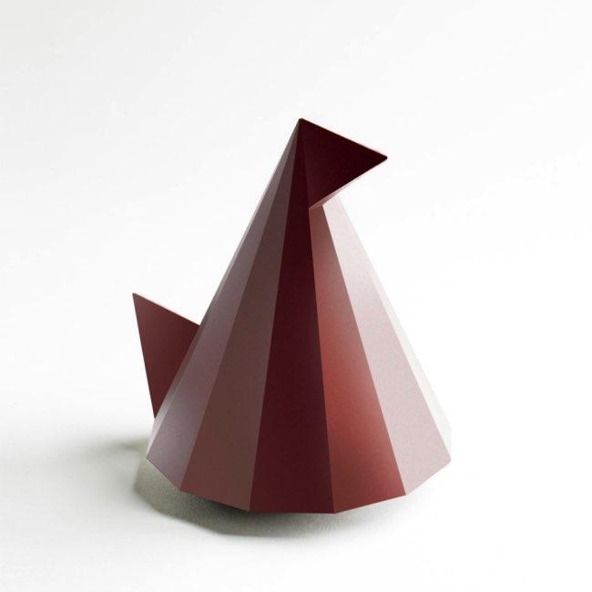 , Pierre Tachon Imagine la Poule de Pâques Géométrique en Chocolat