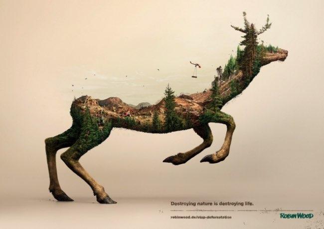, Campagne en Double Exposition pour Protéger l'Environnement
