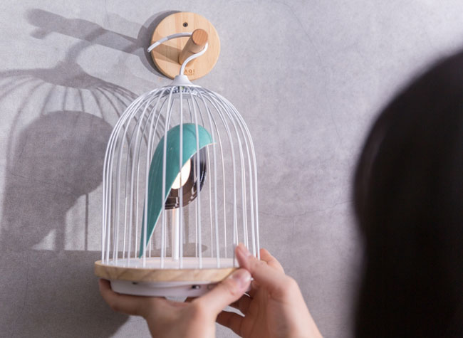 lampe cage, Cet Oiseau en Cage est une Lampe Connectée avec Enceinte (video)