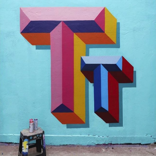 , Ce Street Artiste Alphabétise la Ville avec ses Typo en 3D