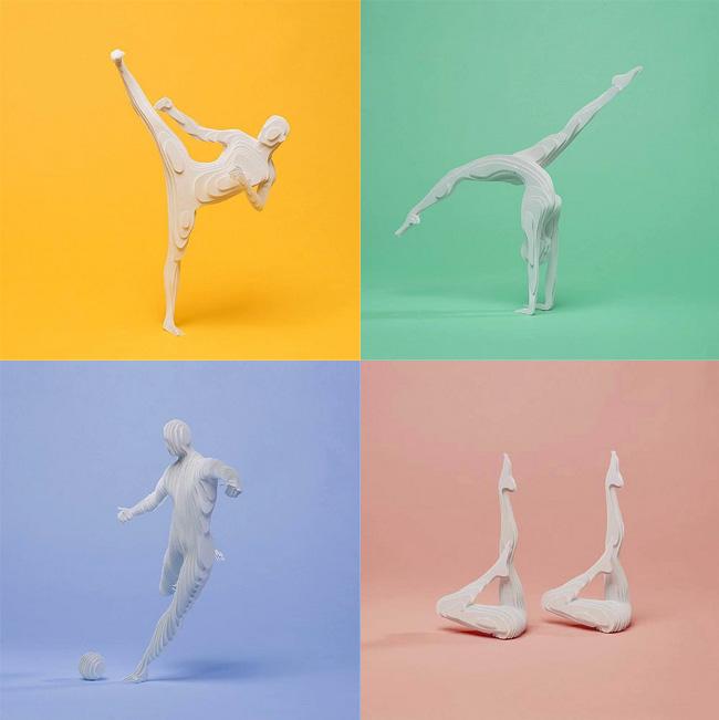 raya cadet bujana art papier sculpture, Ces Sportifs en Mouvement sont des Sculptures Papier en 3D