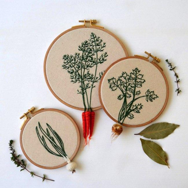 , Broderies de Légumes en 3D Débordantes de Créativité